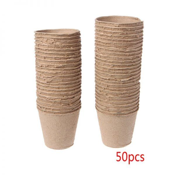 """50Pcs 2.4"""" Paper Pot Plant Starters Seedling Herb Seed Nursery Cup Kit Organic Biodegradable Eco-Friendly Home Cultivation"""