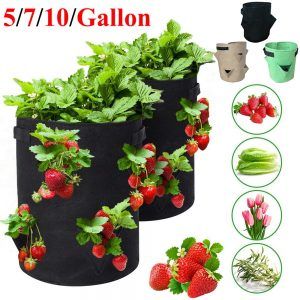 Garden Outdoor Planting Grow Bag Strawberry Vertical Flower Herb Pouch Root Breathable Vegetable Round Reusable Pot Planter D30