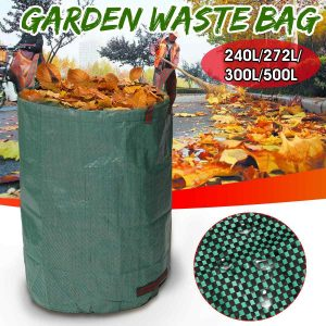 240L/272L/300L/500L Large Capacity Heavy Duty Garden Waste Bag Reusable Waterproof PP Yard Leaf Weeds Grass Container Storage