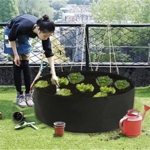 Fabric Raised Garden Bed Round Planting Container Grow Bags Breathable Felt Fabric Planter Pot for Plants Nursery Pot